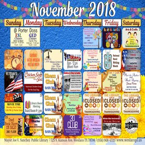 Weslaco City Library November Schedule